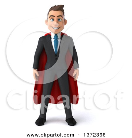Clipart of a 3d Super White Business Man, on a White Background - Royalty Free Illustration by Julos