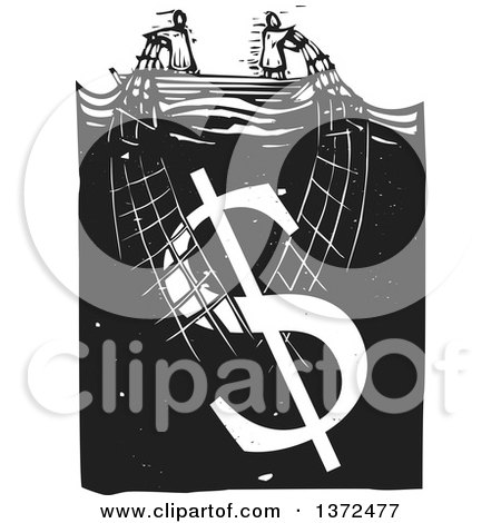 Clipart of a Black and White Woodcut Couple Trying to Stay Afloat, Pulling up a Money Dollar Symbol with a Net - Royalty Free Vector Illustration by xunantunich