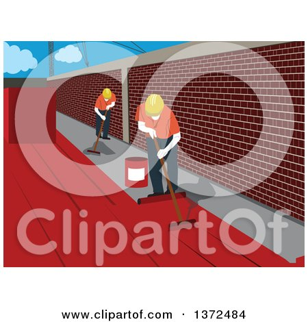 Clipart of Construction Workers Waterproofing a Surface - Royalty Free Vector Illustration by David Rey
