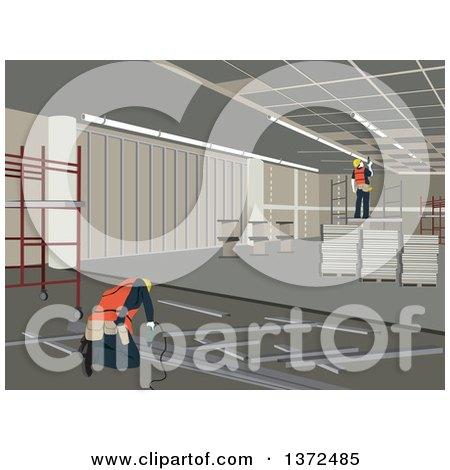 Clipart of Construction Workers Working on an Interior - Royalty Free Vector Illustration by David Rey