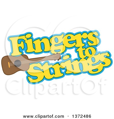 Clipart of a Ukulele Instrument with Fingers to Strings Text - Royalty Free Vector Illustration by Maria Bell