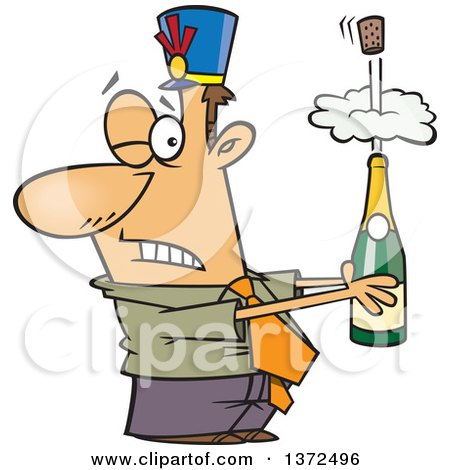 Cartoon Clipart of a White Business Man Holding an Exploding Bottle of Champagne at a New Year Party - Royalty Free Vector Illustration by toonaday