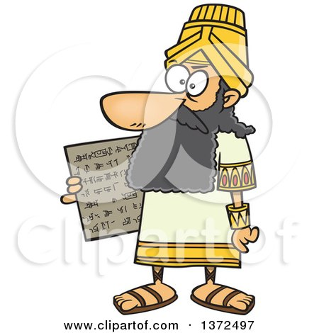 Cartoon Clipart of a Man, Hammurabi, Holding a Tablet of the Code of Hammurabi - Royalty Free Vector Illustration by toonaday