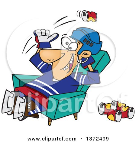 Cartoon Clipart of a White Male Hockey Player or Fan Sitting in a Chair and Tossing Back Beer Cans - Royalty Free Vector Illustration by toonaday
