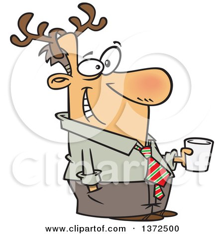 Cartoon Clipart of a Happy Festive White Man Wearing Antlers and Holding a Drink at a Christmas Party - Royalty Free Vector Illustration by toonaday