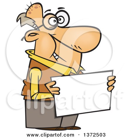 Cartoon Clipart of a Happy White Senior Man Holding a Blank Sign - Royalty Free Vector Illustration by toonaday