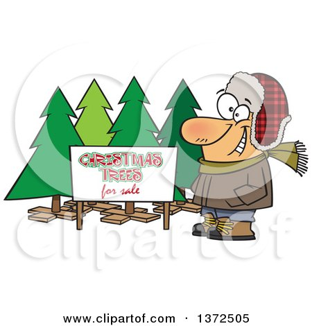 Cartoon Clipart of a Happy White Man Selling Christmas Trees at a Lot - Royalty Free Vector Illustration by toonaday