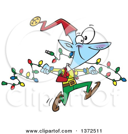 Cartoon Clipart of a Blue Christmas Elf Running with a Strand of Lights - Royalty Free Vector Illustration by toonaday