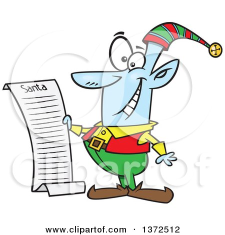 Cartoon Clipart of a Blue Christmas Elf Reading Santas List - Royalty Free Vector Illustration by toonaday