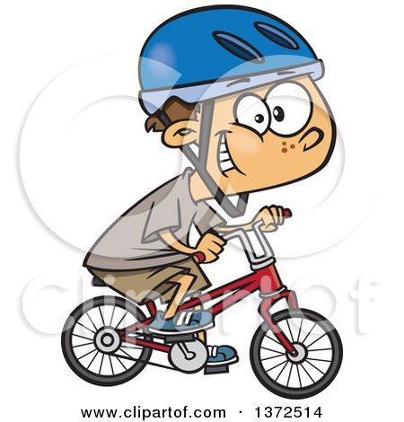 Cartoon Clipart of a Caucasian Boy Wearing a Helmet, Grinning and Riding a Bicycle - Royalty Free Vector Illustration by Ron Leishman