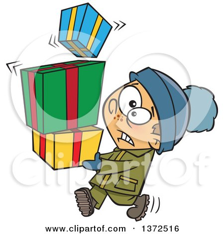 Cartoon Clipart of a Nervous Caucasian Boy Carrying a Shaky Stack of Christmas Gifts - Royalty Free Vector Illustration by toonaday