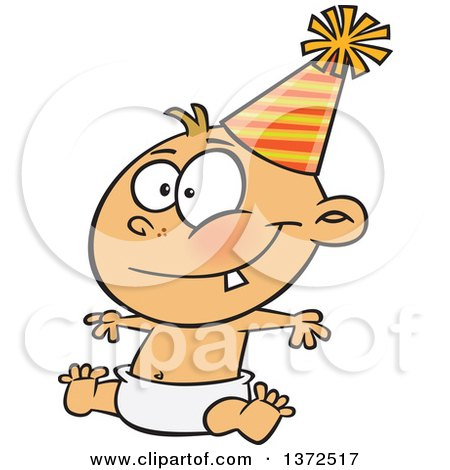 Cartoon Clipart of a Happy New Year Caucasian Baby Sitting in a Diaper and Wearing a Party Hat - Royalty Free Vector Illustration by toonaday