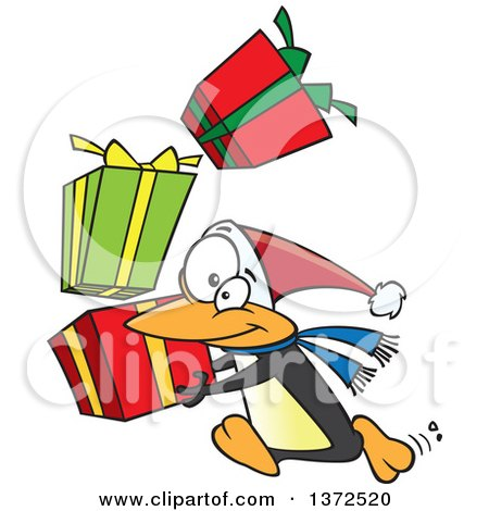 Cartoon Clipart of a Christmas Penguin Running with a Stack of Gifts - Royalty Free Vector Illustration by toonaday