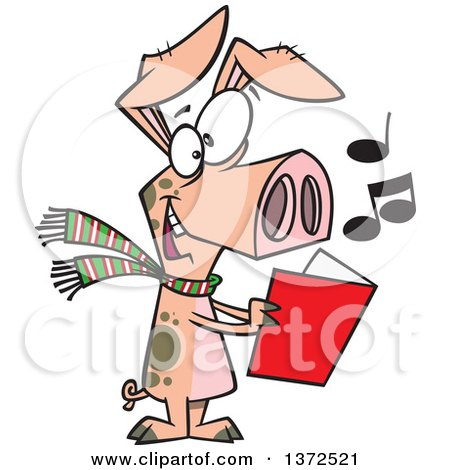 Cartoon Clipart of a Festive Pig Singing Christmas Carols - Royalty Free Vector Illustration by toonaday