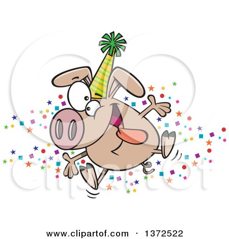 Cartoon Clipart of a Hyper Pig Wearing a Party Hat and Celebrating the New Year - Royalty Free Vector Illustration by toonaday