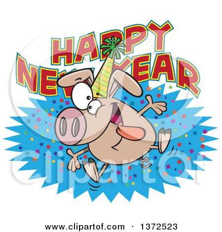Cartoon Clipart of a Hyper Pig Wearing a Party Hat and Jumping over a Happy New Year Greeting - Royalty Free Vector Illustration by toonaday