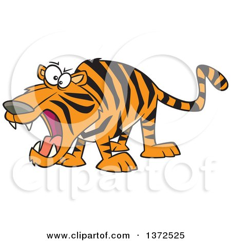 Cartoon Clipart of a Roaring Angry Tiger - Royalty Free Vector Illustration by toonaday