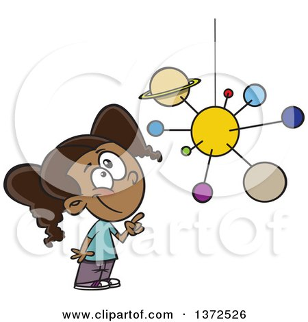 Cartoon Clipart of a Smart Black School Girl Looking up and Pointing at a Solar System Mobile - Royalty Free Vector Illustration by toonaday