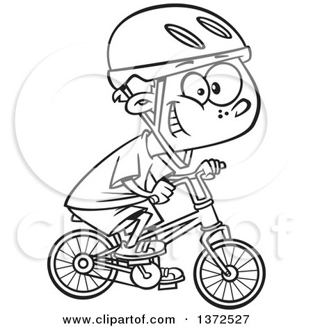 Cartoon Clipart of a Black and White Little Boy Wearing a Helmet, Grinning and Riding a Bicycle - Royalty Free Vector Illustration by toonaday