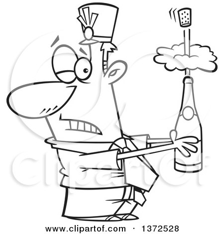 Cartoon Clipart of a Black and White Business Man Holding an Exploding Bottle of Champagne at a New Year Party - Royalty Free Vector Illustration by toonaday