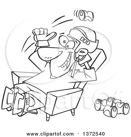 Cartoon Clipart of a Black and White Hockey Player or Fan Sitting in a Chair and Tossing Back Beer Cans - Royalty Free Vector Illustration by toonaday