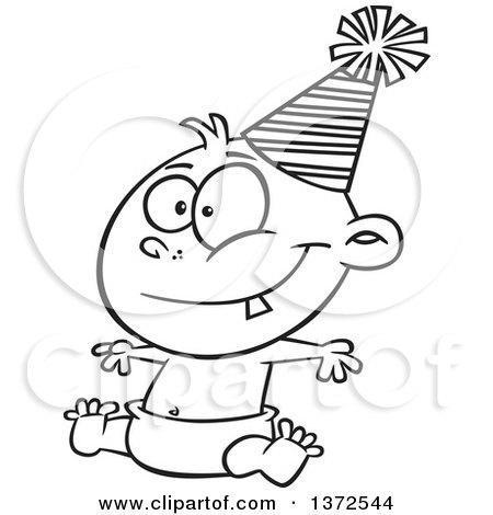 Cartoon Clipart of a Black and White Happy New Year Baby Sitting in a Diaper and Wearing a Party Hat - Royalty Free Vector Illustration by toonaday