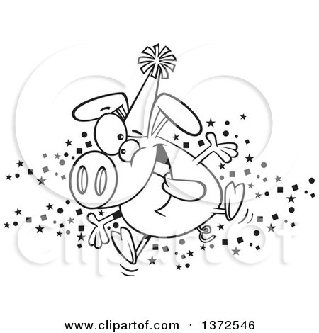 Cartoon Clipart of a Black and White Hyper Pig Wearing a Party Hat and Celebrating the New Year - Royalty Free Vector Illustration by toonaday