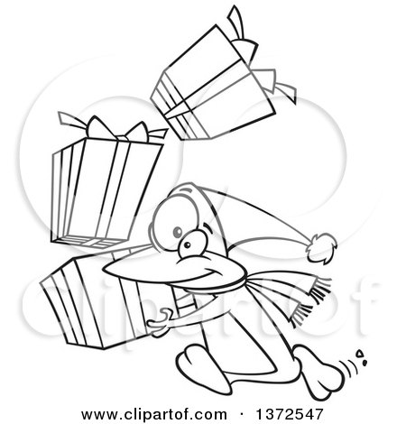 Cartoon Clipart of a Black and White Christmas Penguin Running with a Stack of Gifts - Royalty Free Vector Illustration by toonaday