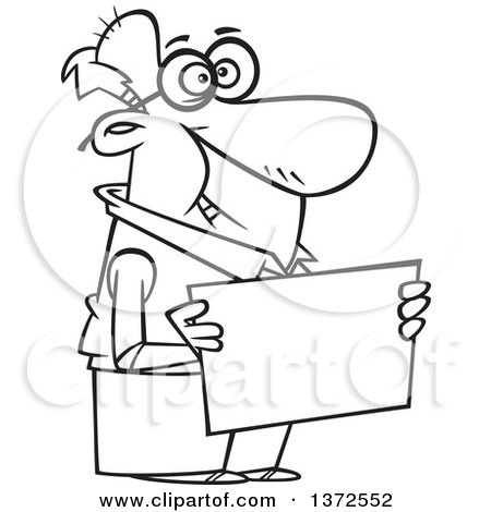 Cartoon Clipart of a Black and White Happy Senior Man Holding a Blank Sign - Royalty Free Vector Illustration by toonaday