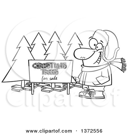 Cartoon Clipart of a Black and White Happy Man Selling Christmas Trees at a Lot - Royalty Free Vector Illustration by toonaday