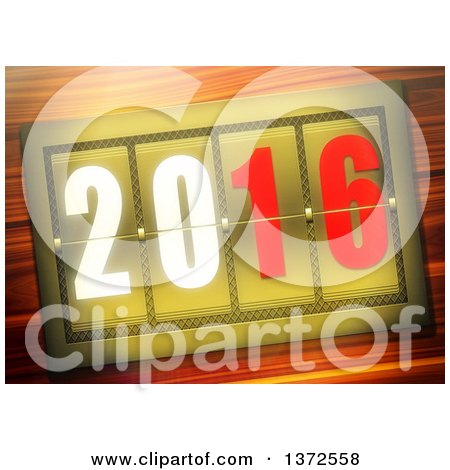 Clipart of a 3d 2016 Meter over Wood - Royalty Free Illustration by MacX