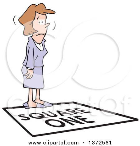 Clipart of a Cartoon Caucasian Business Woman Standing on a Square One Tile - Royalty Free Vector Illustration by Johnny Sajem