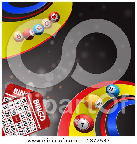 Clipart of 3d Bingo Balls Rolling on Colorful Curves, with Cards over Gray and Flares - Royalty Free Vector Illustration by elaineitalia