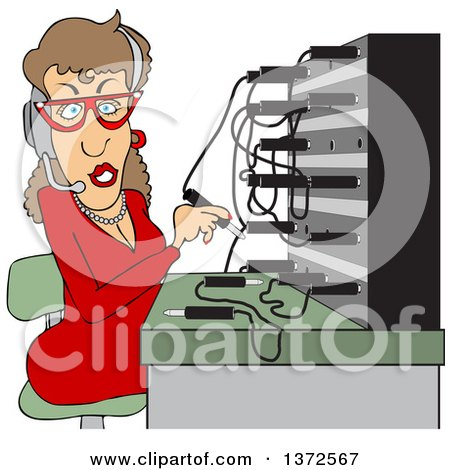 Clipart of a Cartoon Caucasian Female Switchboard Operator at Work - Royalty Free Vector Illustration by djart