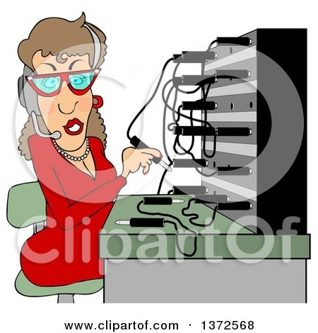 Clipart of a Cartoon Caucasian Switchboard Operator at Work - Royalty Free Illustration by djart