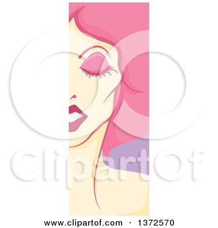 Clipart of a Vertical Drag Queen Face Panel with Pink Hair - Royalty Free Vector Illustration by BNP Design Studio