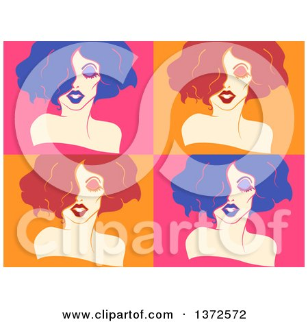 Clipart of Colorful Bright Tiles of Drag Queens - Royalty Free Vector Illustration by BNP Design Studio