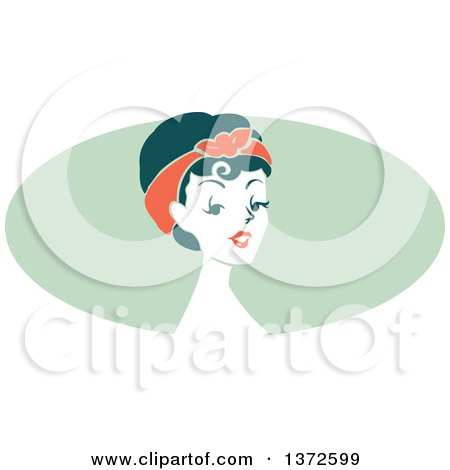 Clipart of a Retro Pinup Woman from the Shoulders up over a Green Oval - Royalty Free Vector Illustration by BNP Design Studio
