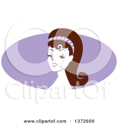 Clipart of a Retro Pinup Woman from the Shoulders up over a Purple Oval - Royalty Free Vector Illustration by BNP Design Studio