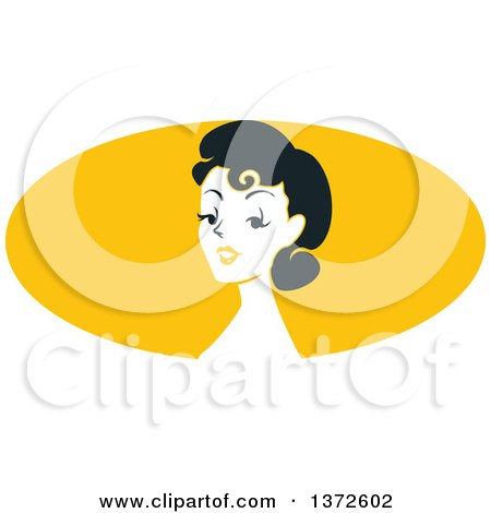 Clipart of a Retro Pinup Woman from the Shoulders up over a Yellow Oval - Royalty Free Vector Illustration by BNP Design Studio