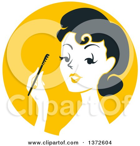 Clipart of a Retro Woman Applying Mascara over a Yellow Circle - Royalty Free Vector Illustration by BNP Design Studio