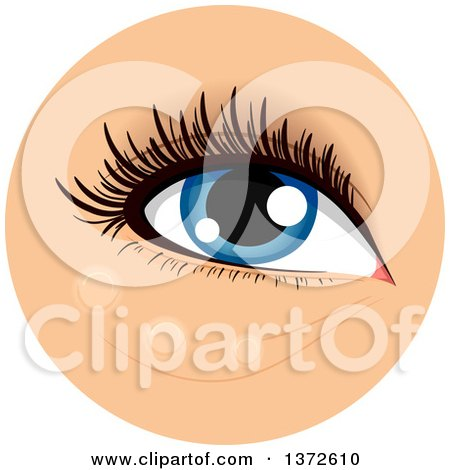 Clipart of a Womans Blue Eye with Concealer Dotted Below It - Royalty Free Vector Illustration by BNP Design Studio