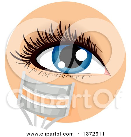 Clipart of a Womans Blue Eye with a Lash Curler - Royalty Free Vector Illustration by BNP Design Studio