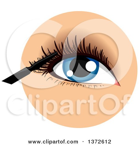 Clipart of a Womans Blue Eye with a Mascara Wand - Royalty Free Vector Illustration by BNP Design Studio