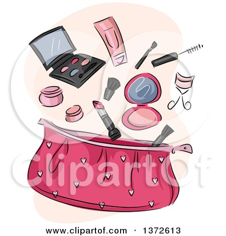 Clipart of a Pink Cosmetic Bag with Makeup - Royalty Free Vector Illustration by BNP Design Studio