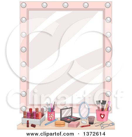 Clipart of a Vanity Mirror with Makeup on a Counter - Royalty Free Vector Illustration by BNP Design Studio