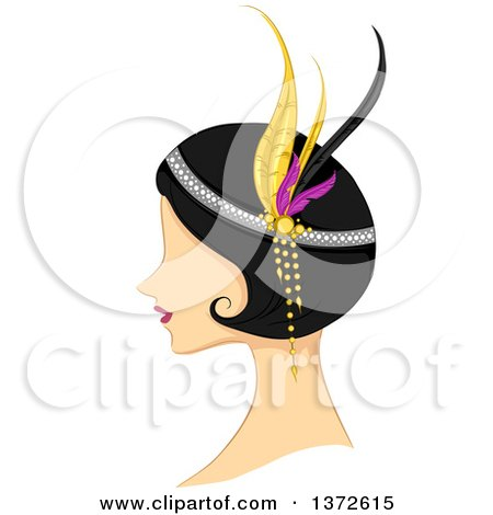 Clipart of a Retro Flapper Woman in Profile - Royalty Free Vector Illustration by BNP Design Studio