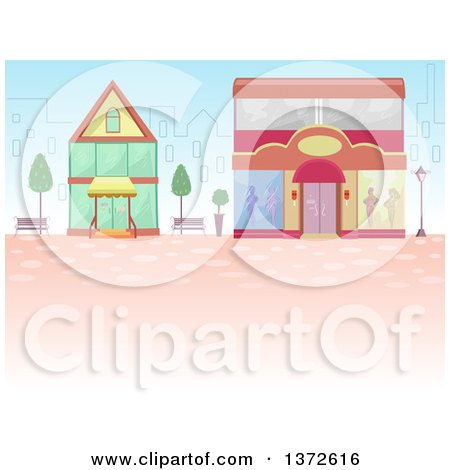 Clipart of a City Behind Shops - Royalty Free Vector Illustration by BNP Design Studio