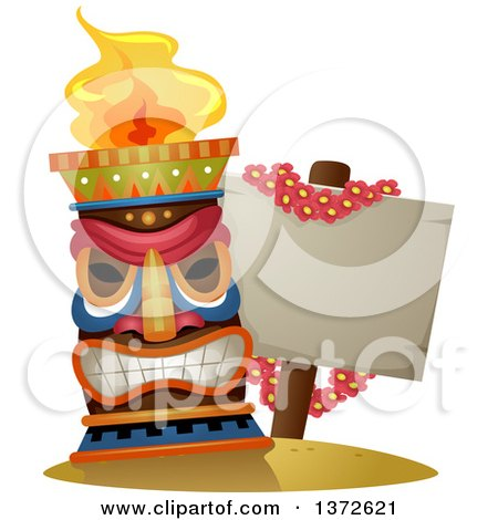 Clipart of a Tiki Torch by a Blank Sign Draped in a Lei of Flowers - Royalty Free Vector Illustration by BNP Design Studio