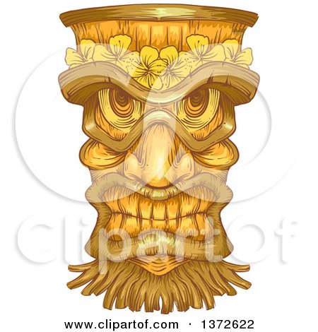 Clipart of a Wooden Tiki Statue - Royalty Free Vector Illustration by BNP Design Studio